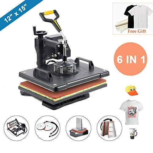 "CO-Z 12"" X 15"" Heat Press 6 in 1 Multifunction Sublimation Heat Press Machine Desktop Iron Baseball Hat Press 1250W Digital Swing Away Transfer T Shirt Hat ()"