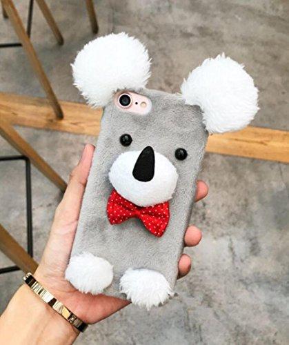Losin iPhone 7 Plus / iPhone 8 Plus 5.5 Inch Case Luxury Cute Plush Animal Koala and Dog Fluffy Fur Hard PC Back - Shape Koala