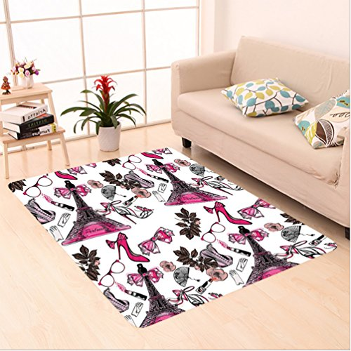 Nalahome Custom carpet ion House Decor Feminine Items for Beauty Perfume in Eiffel Tower Shoes Gloves Flower Print Pink area rugs for Living Dining Room Bedroom Hallway Office Carpet (4' X 6') (Gloves Durango Print)