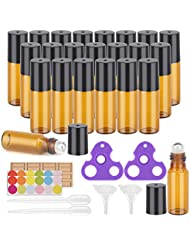 Essential Oil Roller Bottles, 24 Pack Amber Glass Roller Bottles 5ml, Roller Balls for Essential Oils, Roll on Bottles by Easytle (96 Pieces Labels, 4 Funnels, 4 Dropper, 2 Opener)