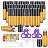 bottle Essential Oil Roller Bottles, 24 Pack Amber Glass Roller Bottles 5ml, Roller Balls for Essential Oils, Roll on Bottles by Easytle (96 Pieces Labels, 4 Funnels, 4 Dropper, 2 Opener)