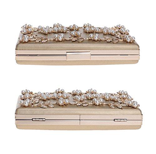 Party Evening Clutch Purses Women Pearl Wedding Bag Leaves Bag Flower Handbag Small Bridal Gold 50qg5aB1n