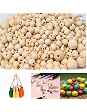 1000Pcs Wooden Beads, Wood Beads for Crafts Natural Wood Beads Unfinished Wooden Beads for Jewelry Making, Handmade Decor, 7 Sizes 6mm 8mm 10mm 12mm 14mm 16mm 20mm