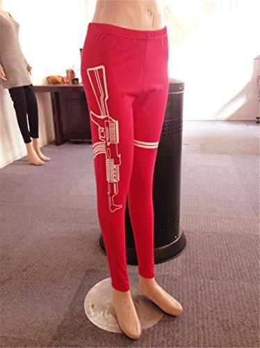 QIYUN.Z Just Do It Letra Impresa Entrenamiento Mujeres Delgadas De Las Polainas De Los Pantalones Deportivos Yoga De La Aptitud Rojo - Arma