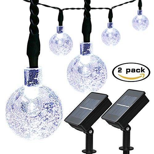 ApexPower 2 Packs Christmas Solar String Lights 30 LED 21ft 8Modes Waterproof Solar Powered Outdoor Bubble String Lights for Patio Lawn Garden Home Holiday Party Xmas Tree (White)