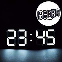 EVILTO LED Digital Alarm Clock with Night Light, 3D Number Style Modern Wall/Mounted/Desk/Shelf Clocks with Adjustable Brightness, Snooze Function for Home Bedside Office School 8.4