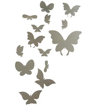 """CasaNet- Murales Adesivi """"Specchio 14 Farfalla Farfalla Tono Nero ..."""