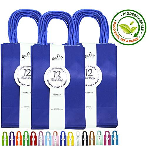 36CT Royal Blue Kraft Paper Gift Bags Bulk with Handles [ Ideal for Shopping, Packaging, Retail, Party, Craft, Gifts, Wedding, Recycled, Business, Goody and Merchandise Bag] (Royal Blue, 36CT Small)