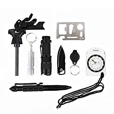 Emergency Survival Kit 10 in 1, Spoway Outdoor Survival Tools with Fire Starter Flashlight Tactical Pen Whistle Knife, Professional Survival Gear for Camping Travelling Hiking Field Hunting from Spoway