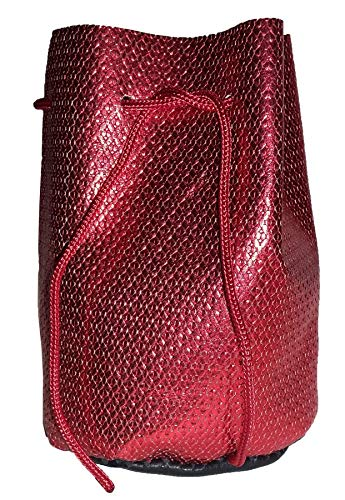 Pouch Drawstring Leather 5 X 5.5 Inches, Red