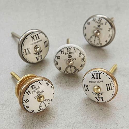 paris-Orologio vintage in ceramica di fissaggio in porcellana per anta-Pomello per mobili in porcellana