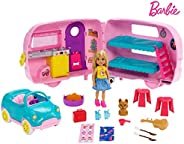 Barbie Club Chelsea Camper Playset with Chelsea Doll, Puppy, Car, Camper, Firepit, Guitar and 10 Accessories,