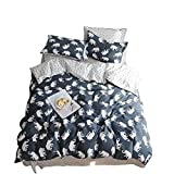 BuLuTu Elephant Print Kids Duvet Cover Sets Twin 100% Cotton Hotel Reversible Bedding Cover Sets 3 Pieces Zip Zipper,Gifts for Boy,Girl,Teen,Friend,Women,Men,Family,NO Comforter,68''x86''