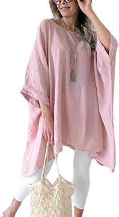 Women's Linen Blouse Tunic Tops - Fashion Summer Loose Fit T Shirt
