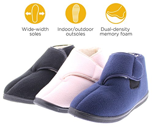 Gold Toe Womens Wide Adjustable Strap Orthopedic Wrap Slipper Bootie Memory Foam House Shoes Navy 10W