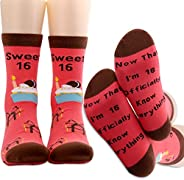 PXTIDY 16th Birthday Socks Sweet 16 Gift Now That I'm 16 Officially Know Anything Funny Socks Gift for 16 Year