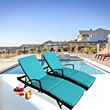 Patio Furniture PE Rattan Black Recliners Garden Chaise Lounge Set of 2 Outdoor Lounger w/Armrest Turquoise Cushion