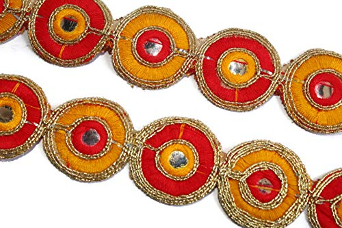 Fancy Round Mirror Trim Cut Work Red Yellow Lace Indian Handcrafted Trim Cinta Recorte-Price per 01 Yard-Width 03 cm-IDL252