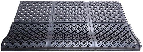 Height Rhino Mats DX-2436B Rhino Drain-x Diamond Drain-Thru Anti-Fatigue Interlocking Mat 24 x 36 Rubber Black