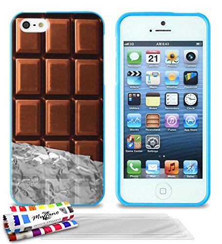 Ultraflache weiche Schutzhülle APPLE IPHONE 5S / IPHONE SE [Schokolade] [Blau] von MUZZANO + 3 Display-Schutzfolien UltraClear + STIFT und MICROFASERTUCH MUZZANO® GRATIS - Das ULTIMATIVE, ELEGANTE UND