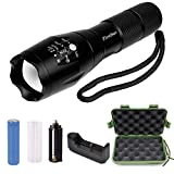 Firstbuy Led handheld Flashlight 1000 Lumen A100 Cree Super Bright LED Flashlight,5 Modes Zoomable Adjustable Focus With Rechargeable 18650 Battery and Charger,Water Resistant Torch for Outdoors
