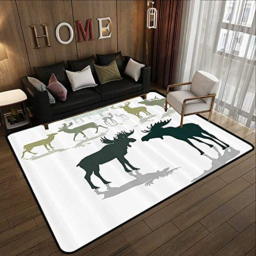 - Office Floor mats,Antlers Decor,Elk Deer and Fawn Silhouette Forest at The Background World Natural Heritage Deco,Green Black 71