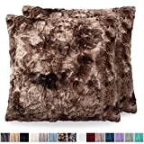 The Connecticut Home Company Original Faux Fur Pillowcases, Set of 2 Decorative Case Sets, Throw Pillow Covers, Luxury Soft Cases for Bedroom, Living Room, Couch, Sofa, Bed, 18x18, Tie Dye Brown