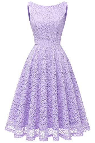 Bbonlinedress Women's Short Floral Lace Bridesmaid Dress V-Back Sleeveless Formal Cocktail Party Dress Lavender M ()