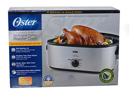 #1 Brand in Roasters - Oster Stainless Steel 24-Pound Turkey Roaster Oven (20 Quarts)