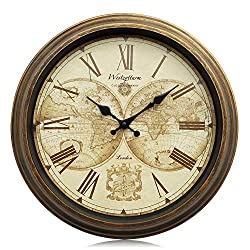 Westzytturm Wall Clocks Battery Operated Non Ticking Quartz Movement Silent Exact Time Roman Numeral Easy to Read Classic Old Vintage Gold Art Antique Home Decor for Living Room Office (16 inches)
