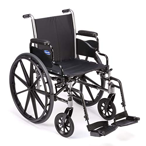 Invacare Tracer SX5 Wheelchair, with Desk Length Arms and T93HCP Composite Footrests with Heel Loops, 18