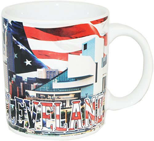 Cleveland Ohio Patriotic Skyline Souvenir Coffee Mug Featuring the American - Mug Skyline Large