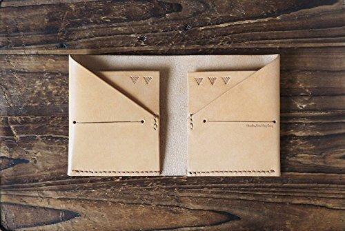 - Leather Peak Billfold Wallet - Handmade Leather Slim Card Wallet, Minimalist Bilfold Front Pocket wallet, Card Sleeve, credit card holder, Mens Wallet #Natural Nude
