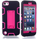 Lantier For iPod Touch 5th Case,Plastic 3 Layer TUFF Hard Cover Camo Hybrid Silicone Quakeproof Drop Resistance Protective Shell Case for iPod Touch 5 5th Generation with Stand and Screen Protector and Stylus Pen Kickstand Black/Hot Pink