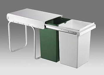Einbauabfallsammler Von Wesco In Weiss Grun 30 L Mit 2 Fach