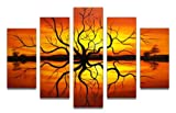 Design Art OL275 5-Panel Reflection Tree Abstract Oil Painting, 60 by 40-Inch, Orange/Yellow