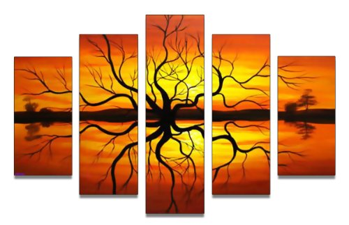 Design Art OL275 5-Panel Reflection Tree Abstract Oil Painting, 60 by 40-Inch, Orange/Yellow by Design Art