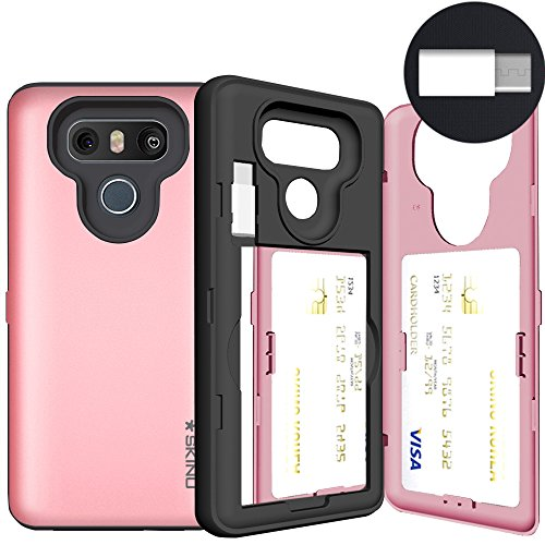 LG G6 Case, LG G6 Card Case, SKINU [USB type C] [Rose Gold] [Shockproof] [Dual Layer] [Card Slot] [Drop Protection] [Wallet] with Mirror and Adapter For LG G6 - Rose Gold