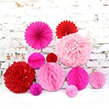11 Pcs Mermaid Party Decorations Kit, Tissue Paper Pompoms, Paper Fan Flower, Honeycomb Balls for Birthday | Baby Shower | Bridal | Weddings(Red+Rose+Baby Pink)