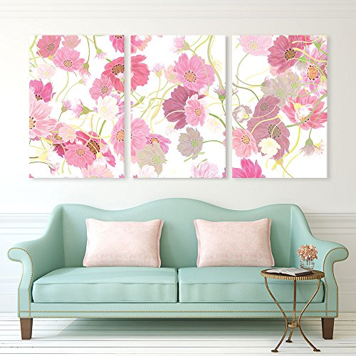 3 Panel Pink Floral Pattern Gallery x 3 Panels