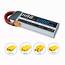 HRB 3S 11.1V 6000mAh High Power 50C RC LiPo Battery with XT60 plug For DJI F450 Quadcopter RC Helicopter Airplane Hobby Drone and FPV (EC3/Deans/Traxxas/Tamiya)