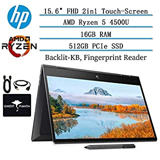 """2020 Newest HP Envy x360 2in1 15.6"""" Full HD Touch-Screen Laptop, AMD Ryzen 5 4500U 6 cores (up to 4GHz, Beat i5-9300H), 16GB RAM, 512B PCIe SSD, Backlit-KB, FP Reader, Win10, w/HP Pen, GM Accessories"""