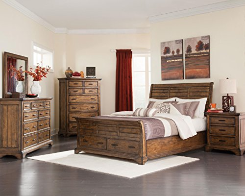 Coaster Home Furnishings Sleigh Bed, Vintage Bourbon Bedroom Vintage Sleigh Bed