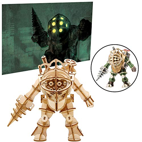 Bioshock Big Daddy Poster and 3D Wood Model Figure Kit - Build, Paint and Collect Your Own Wooden Toy Model - Great for Teens and Adults,17+ - 5""