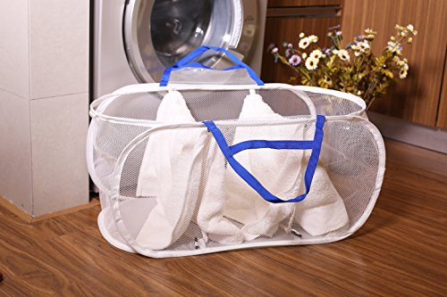 Mesh Collapsible Pop Up Laundry Storage, Estorager 3 part Laundry Organized Laundry Hampers Baskets with Portable Handles (Blue handle, S)
