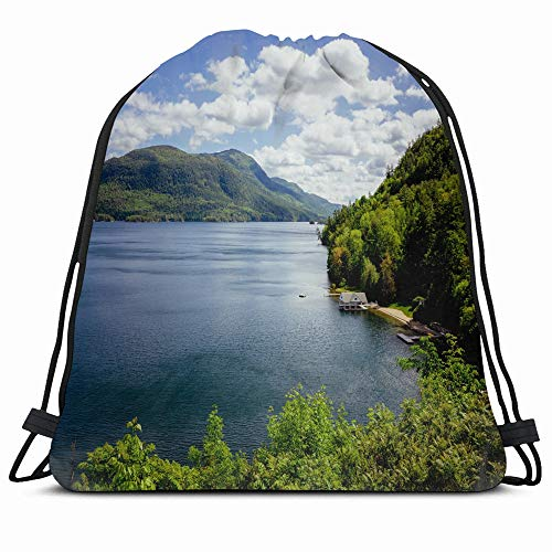 Ahawoso Drawstring Backpack String Bag 14X16 Blue Adirondack Lake George Bay Nature Reflection Sky Parks Red Beautiful Boathouse Calm York Climbing Cloud Sport Gym Sackpack Hiking Yoga Travel Beach