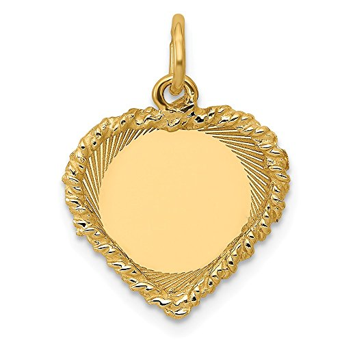 14k Yellow Gold .013 Gauge Engravable Heart Rope Disc Pendant Charm Necklace Framed Fine Jewelry Gifts For Women For Her