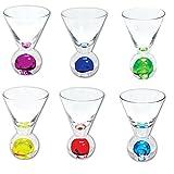 Shot Glass Bubble Martini Pretty Colored Shot Glasses 2.5 oz (Set of 6 Assorted)
