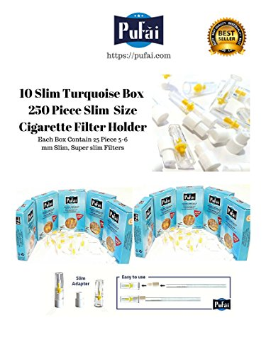 (Pufai Slim cigarette filter holder. 250 piece (10 turquoise box25 filters) disposable slim and super slim size [5 and 6 mm] cigarette filters holder. New 6 hole strong filtration sytem by)