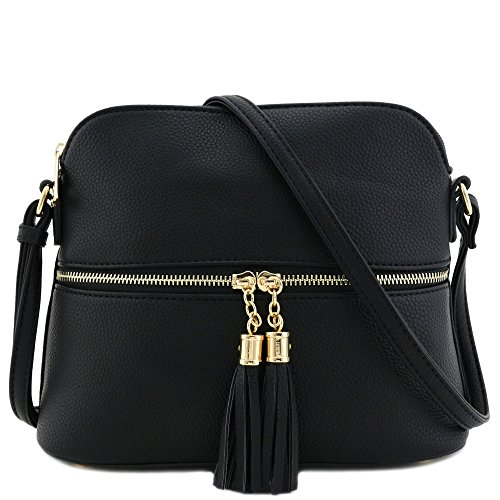 Tassel Zipper Pocket Dome Crossbody Bag (Black)]()